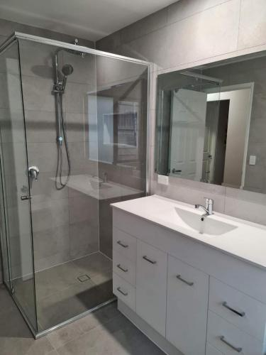 New vanity and mirror installed